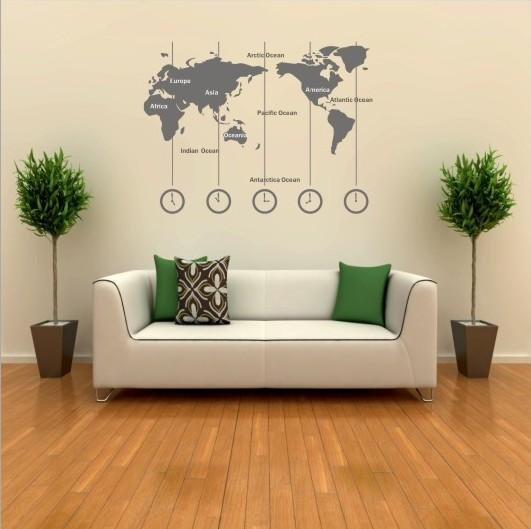 Removable Vinyl World Map Wall Decal Time Wall Art Clock Wall With World Wall Art (Image 14 of 20)