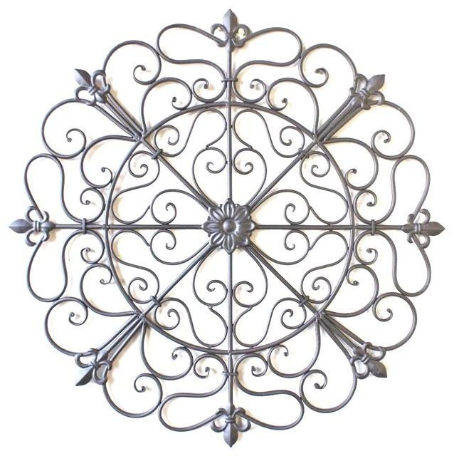 "Renata 24"" Round Tuscan Wrought Iron Wall Grille – Traditional Within Tuscan Wrought Iron Wall Art (Image 16 of 20)"