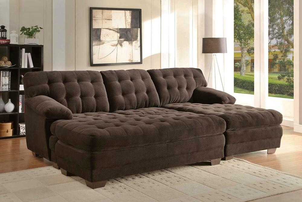 Renton Chocolate Microfiber Sectional Sofa Regarding Microfiber Sectional Sofas (View 17 of 20)