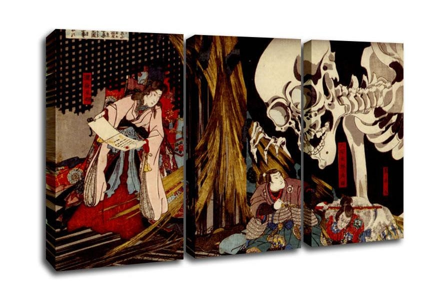 Retro Nnm Ruu Kuniyosh8 Ethnic 3 Panel Canvas 3 Panel Set Canvas Intended For Japanese Wall Art Panels (Image 13 of 20)