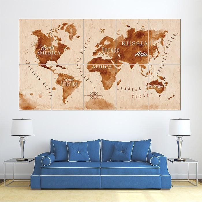 Retro Vintage World Map Block Giant Wall Art Poster Regarding Large Retro Wall Art (Image 15 of 20)