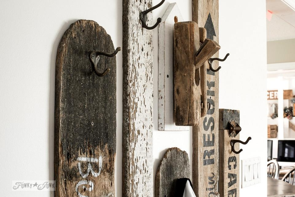 Revamped Hallway Old Sign Coat Hooks Entryfunky Junk Interiors Within Wall Art Coat Hooks (View 7 of 20)