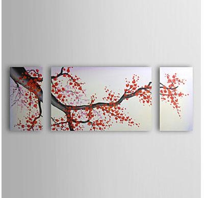 Reviews: Cherry Blossom Red Plum Flowers Modern Canvas Art Wall Inside Red Cherry Blossom Wall Art (View 10 of 20)
