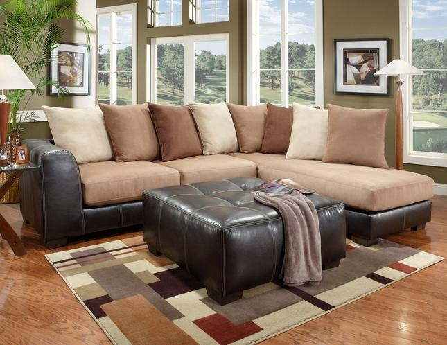 Rider Beige Brown Sectional Sofa Loose Pillow Back Intended For Loose Pillow Back Sofas (Image 12 of 20)