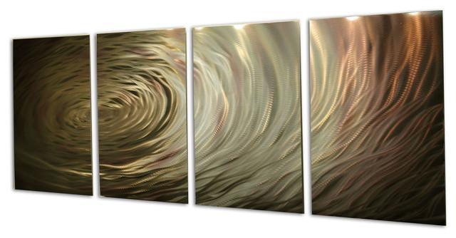 "Ripple Brown Gold"" Metal Wall Artmiles Shay, 4 Piece Set Throughout Metallic Wall Art (View 6 of 20)"