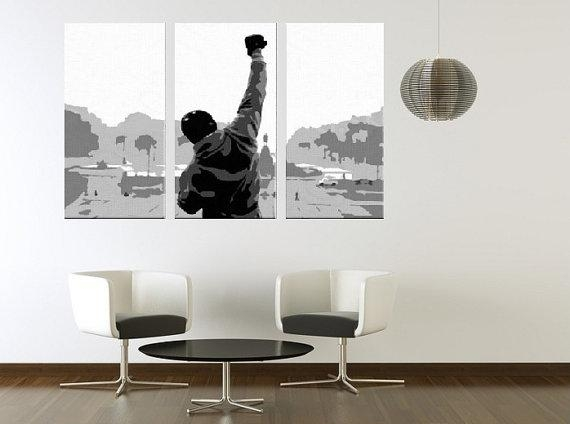 Rocky Balboa Hand Painted European Canvas Acrylic Pop Art Inside Rocky Balboa Wall Art (Image 17 of 20)