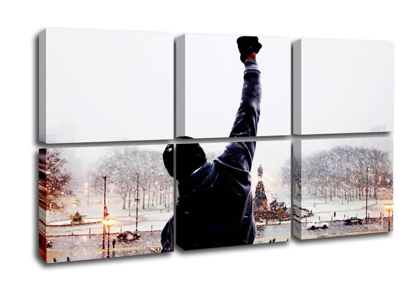 Rocky Balboa On The Steps People 6 Panel Canvas 6 Panel Set Canvas Throughout Rocky Balboa Wall Art (Image 19 of 20)