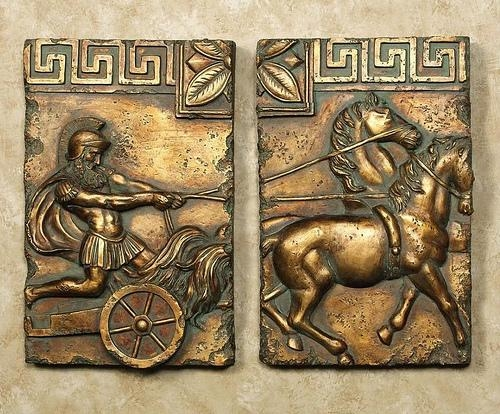 Roman Greek Gladiator, Chariot & Horse 2Pc Wall Scultpure Www (Image 16 of 20)