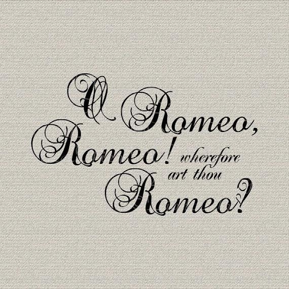 Romeo And Juliet Shakespeare Quote Script Wall Decor Art Throughout Shakespeare Wall Art (Image 12 of 20)