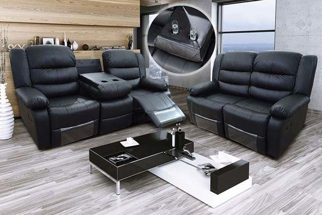 Romina Leather Recliner Sofas With Cup Holders – 2 Colours! Within Sofas With Cup Holders (Image 15 of 20)