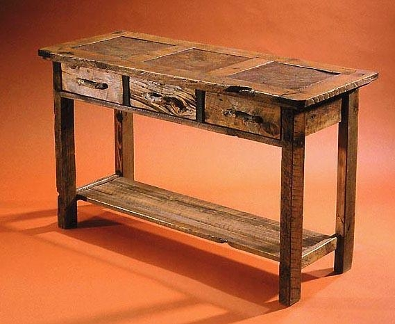 Rustic Console And Sofa Tables In Barnwood And Stone Tile – Custom Regarding Barnwood Sofa Tables (Image 16 of 20)