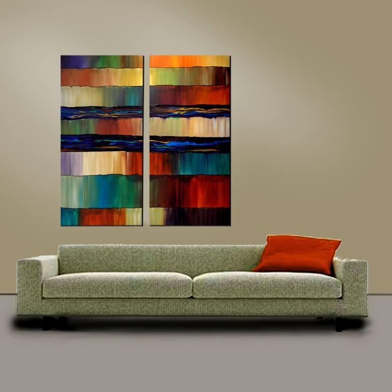 Saatchi Art: Extra Large 48X48 Two Canvas Original Acrylic Within 48X48 Canvas Wall Art (Image 14 of 20)