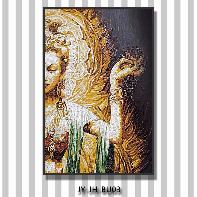 Sacred Glass Mosaic Tile Buddha 3D Wall Mural Buddha Decorative Within 3D Buddha Wall Art (Image 18 of 20)