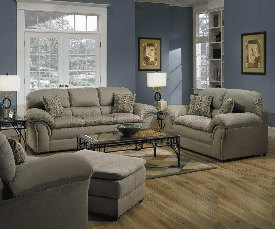 Sage Microfiber Living Room W/decorative Pillowssimmons Regarding Simmons Microfiber Sofas (Image 15 of 20)