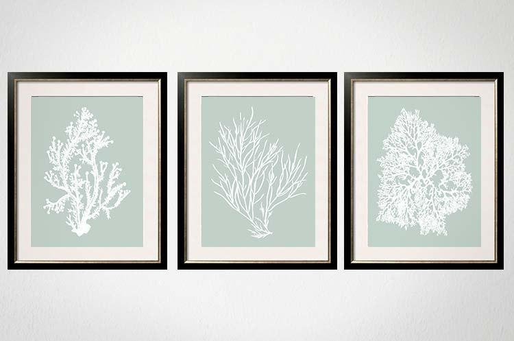 Sage Wall Art Palladian Blue Art Sea Foam Green Coral Print Regarding Bath Wall Art (Image 20 of 20)