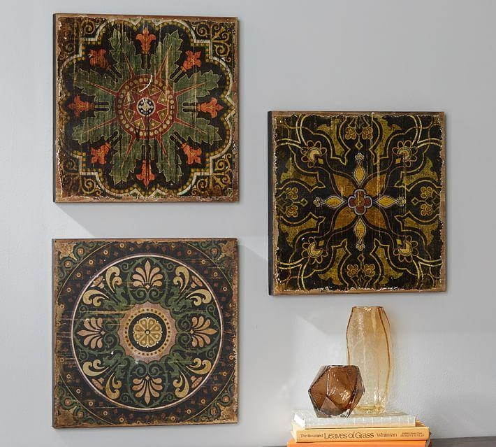 Sahara Printed Wood Tiles Wall Art Set | Pottery Barn In Ceramic Tile Wall Art (Image 16 of 20)