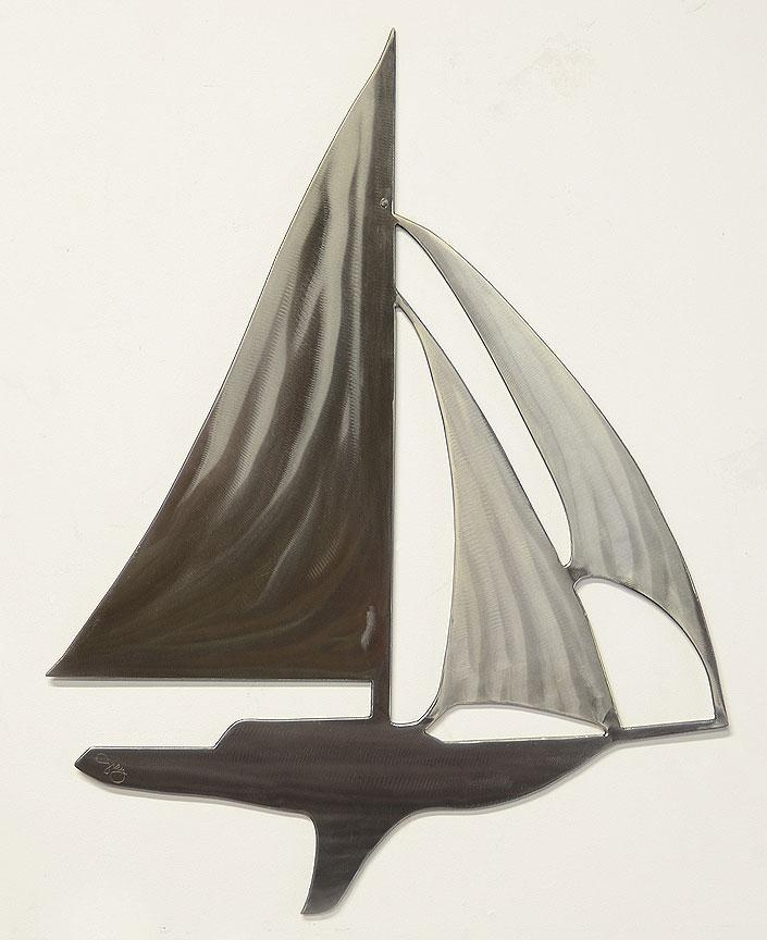 Sailboat Modern Wall Sculpture In Stainless Steelsculptor Intended For Metal Sailboat Wall Art (Image 10 of 20)