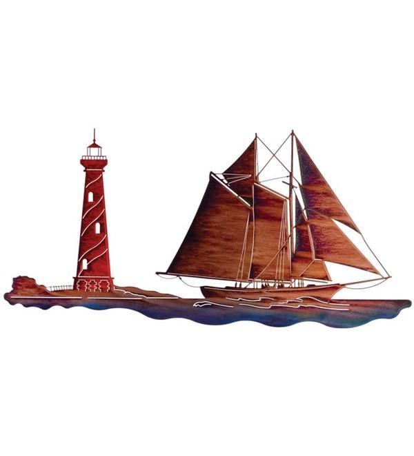 Sailboat With Lighthouse Laser Cut Wall Sculpturelazart | Wind In Sailboat Metal Wall Art (Image 14 of 20)