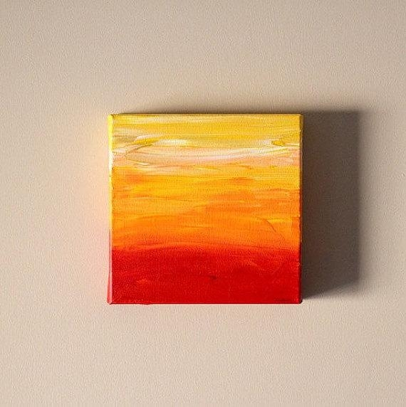 Sale Original 8X8 Gallery Canvas Abstract Art Ombre Wall Art With Regard To Red And Yellow Wall Art (View 17 of 20)