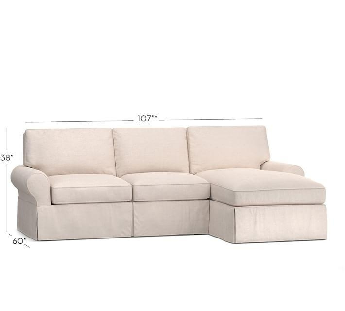 Sale Pb Basic Slipcovered Sofa With Chaise Sectional | Pottery Barn For Slipcovered Chaises (View 12 of 20)