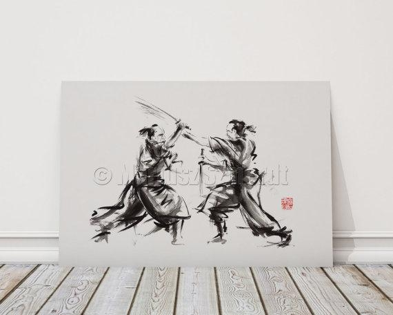Samurai Akira Kurosawa Japan Style Wall Art Poster Abstract Inside Samurai Wall Art (Image 11 of 20)