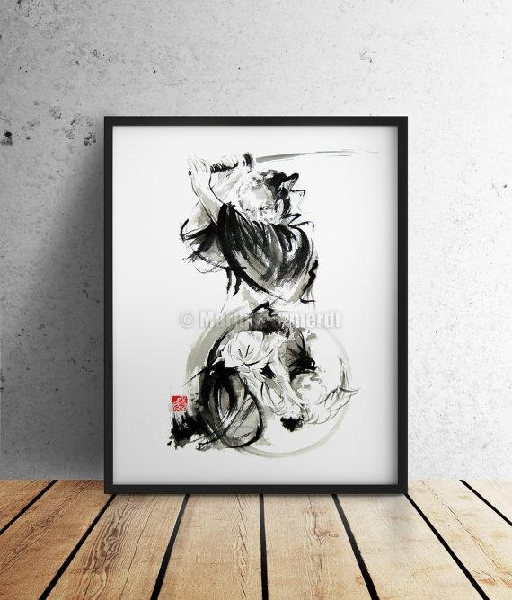 Samurai Poster Kurosawa Movie Japanese Home Decor Style Art Regarding Samurai Wall Art (Image 15 of 20)