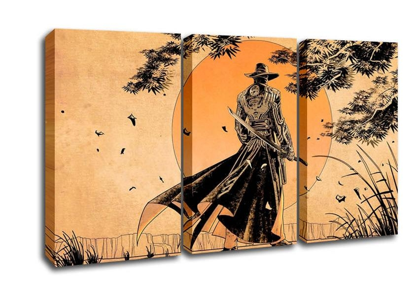 Samurai Sunset Ethnic 3 Panel Canvas 3 Panel Set Canvas With Japanese Wall Art Panels (View 10 of 20)