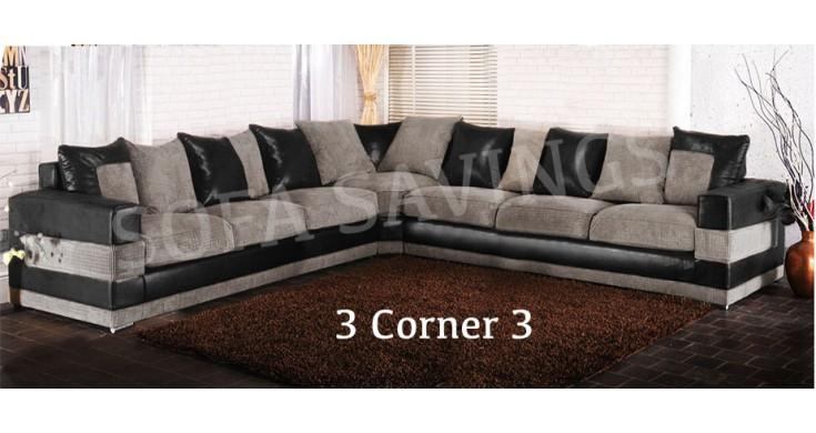 Sanchez Black & Grey Fabric Corner Sofa Suite Within Black Corner Sofas (View 14 of 20)