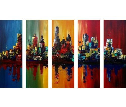 Santin Art Summer In The City Modern Canvas Art Wall Decor Pertaining To Cityscape Canvas Wall Art (Image 14 of 20)