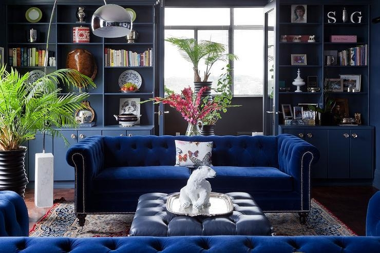 Sapphire Blue Velvet Tufted Sofa With Blue Leather Tufted Ottoman With Blue Velvet Tufted Sofas (Image 20 of 20)