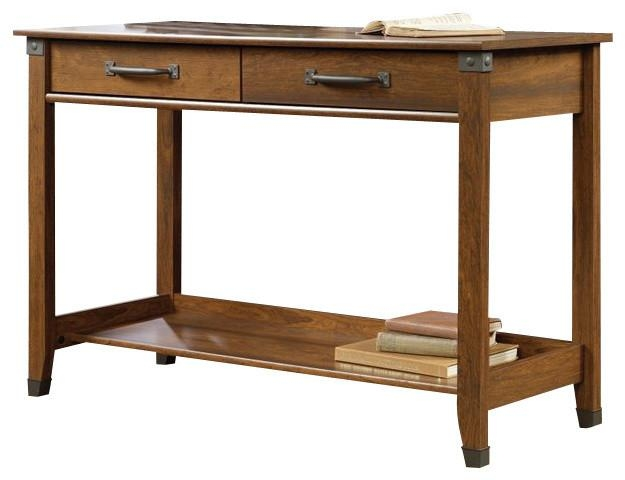 Sauder Carson Forge Sofa Table In Washington Cherry – Transitional For Computer Sofa Tables (Image 14 of 20)