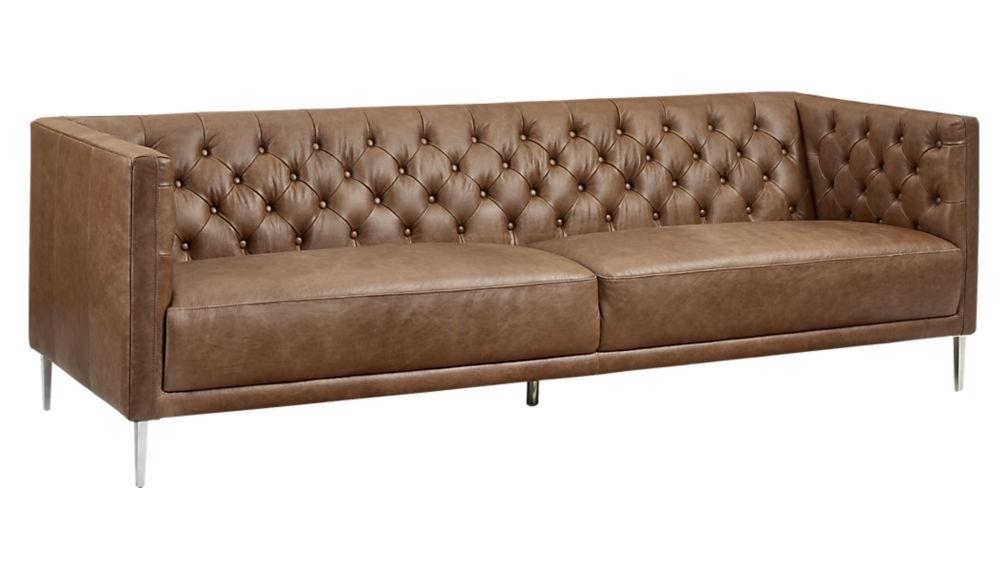 Savile Dark Saddle Brown Leather Tufted Sofa | Cb2 With Brown Leather Tufted Sofas (Image 17 of 20)