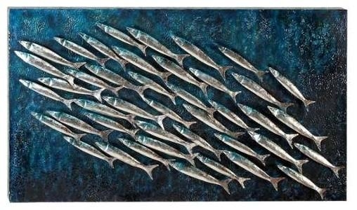 School Of Fish Metal Wall Plaque – Beach Style – Metal Wall Art Intended For Fish Shoal Metal Wall Art (Image 13 of 20)