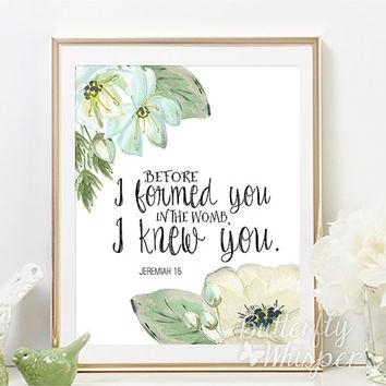 Scripture Wall Art Print, Bible Verse From Butterflywhisper On With Nursery Bible Verses Wall Decals (View 5 of 20)