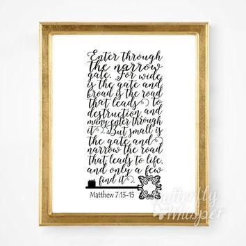 Scripture Wall Art Print, Bible Verse From Butterflywhisper On With Regard To Bible Verses Framed Art (View 2 of 20)