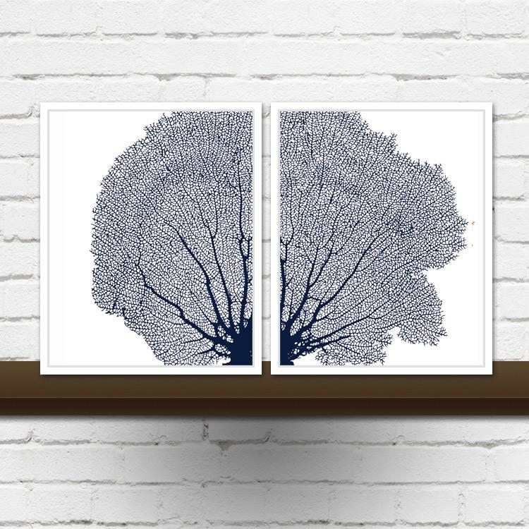 Sea Fan Coral Diptych Prints Or Canvases – Set Of 2 Sea Fans In Intended For Sea Fan Wall Art (Image 13 of 20)