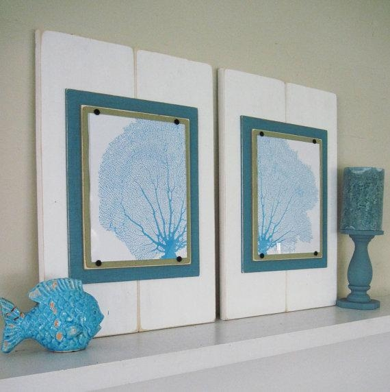 Sea Fan Wall Art Set Of 2 Framed Prints Pertaining To Sea Fan Wall Art (Image 16 of 20)