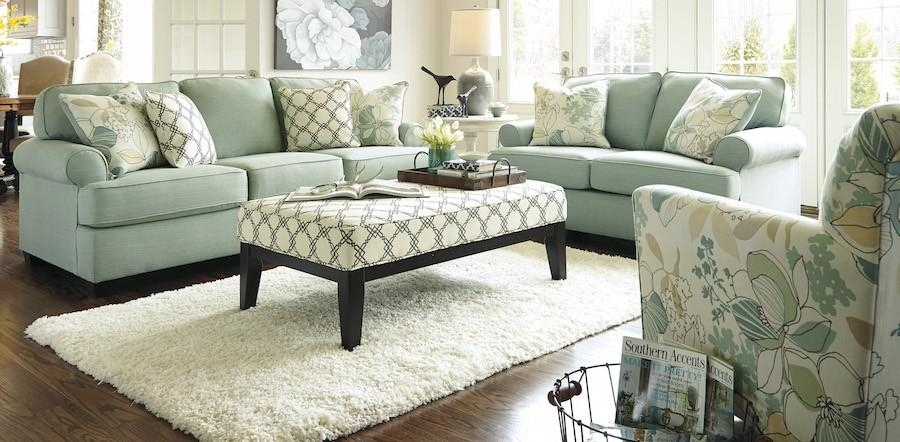 Sea Foam Green Sofa, Loveseat, Chair & Ottoman – Sam Levitz Furniture In Seafoam Green Couches (View 7 of 20)