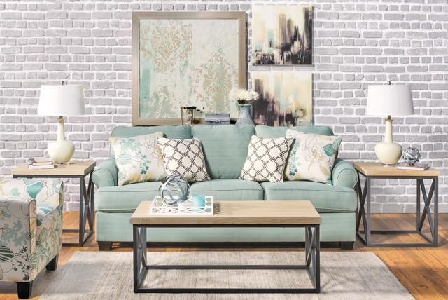 Seafoam Sofa Living Room – Modern – Living Room – Los Angeles – With Regard To Seafoam Green Sofas (Image 16 of 20)
