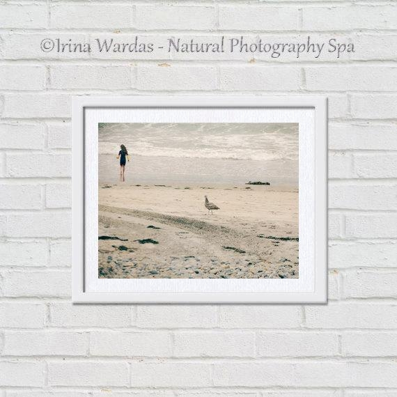 Seagull Surfer Girl Photo | Seashore Print | Grey Beige Neutral Decor Within Neutral Wall Art (Image 16 of 20)
