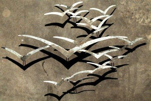 Seagull Wall Art In Silver Colour In Metal Wall Art Flock Of Seagulls (Image 13 of 20)