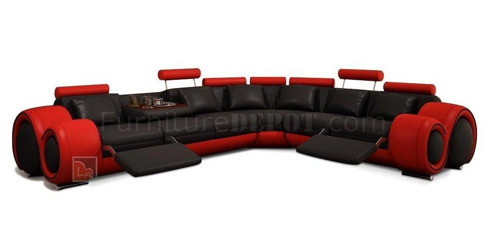 Sectional Sofa In Black & Red Bonded Leathervig Within Black And Red Sofas (Image 16 of 20)