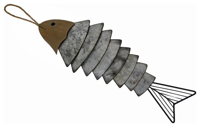 Sectioned Metal Fish Bones Decorative Wall Hanging – Beach Style Throughout Fish Bone Wall Art (Image 19 of 20)