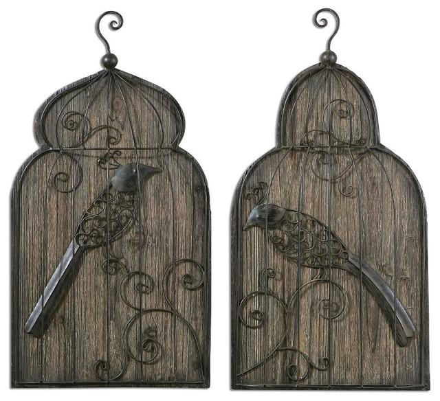 Set 2 Forged Metal Birdcage Wall Art Rustic Bronze Wood Background Regarding Metal Birdcage Wall Art (View 7 of 20)