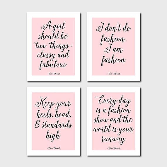 Set Of 10 Coco Chanel Quotes 5X7 Digital Chanel Art Chanel With Regard To Coco Chanel Quotes Framed Wall Art (View 8 of 20)