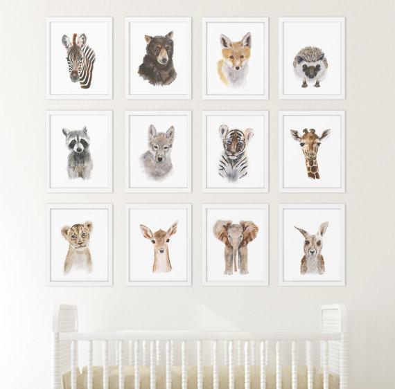 Set Of 12 Prints Animal Art Collection Nursery Art Home Inside Animal Wall Art (View 16 of 20)