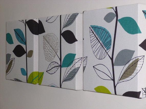 Set Of 3 Contemporary Modern Designer Retro Print Design Teal Regarding Fabric Canvas Wall Art (View 12 of 20)