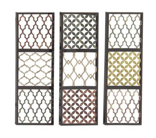 Set Of 3 Wall Art Panels Boho Patterned Metal Moroccan Style Home Regarding Moroccan Metal Wall Art (Image 16 of 20)