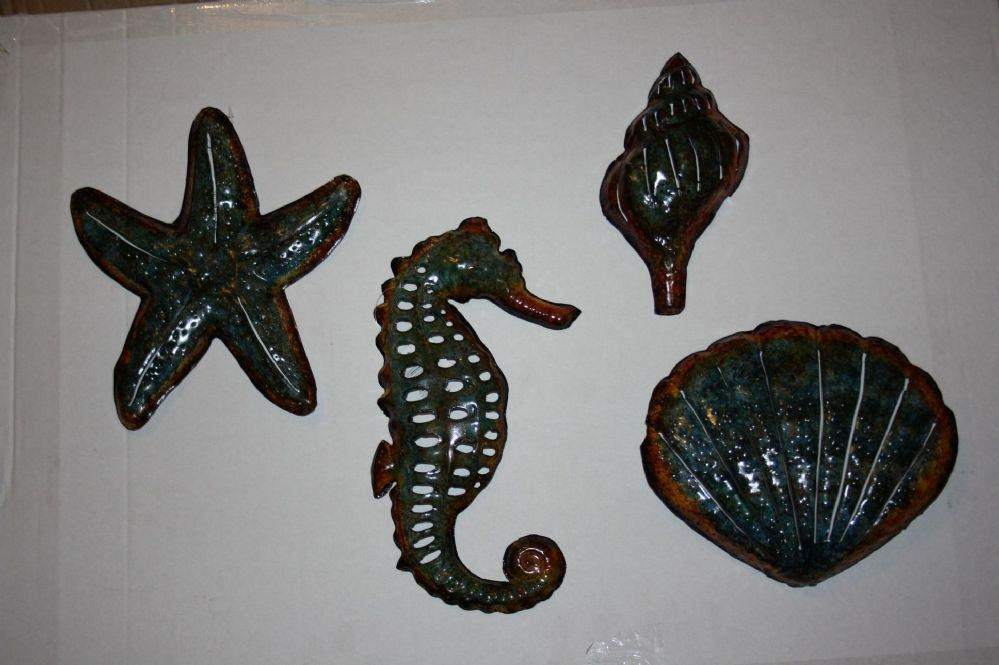 Set Of 4 Bathroom Seaside Metal Wall Art Now Only (View 8 of 20)