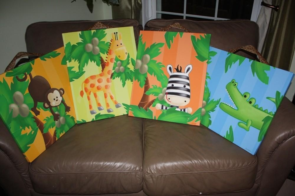 Set Of 4 Bright Jungle Animal Stretched Canvases Baby Nursery With Jungle Canvas Wall Art (View 13 of 20)